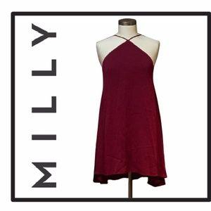 NWT Milly Stretch Silk Cascade Halter Dress